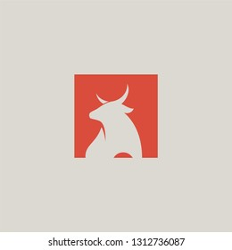 Bull logo with bull animal icon. Animal silhouette logo concept.