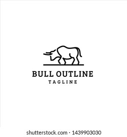 Bull logo outline style simple vector graphic