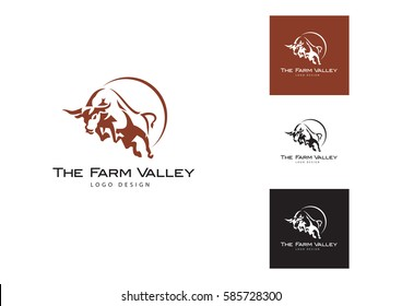Bull  logo. Stable, farm,Valley,Company, Race logo design.
