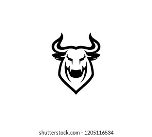 Bull Logo Template Front Look Black and White Vector