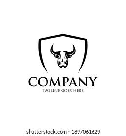 Bull Logo Vector. Stable, farm,Valley,Company, Race logo design.