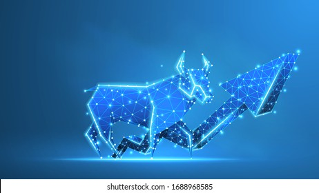Bull market trend, growth arrow. Stock Exchange and concept of a trading chart. Low poly, wireframe 3d vector illustration. Abstract polygonal image on blue neon background