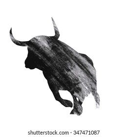 Bull on white background, vector illustration