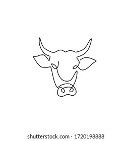 Bull one line continuous line art drawing vector illustration isolated on white background. Luxury head buffalo for multinational company logo identity. Luxury bull mascot concept for energy drink.