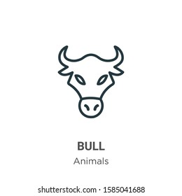 Bull outline vector icon. Thin line black bull icon, flat vector simple element illustration from editable animals concept isolated on white background