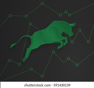 Bull paper art and green graph paper art for stock market vector and illustration