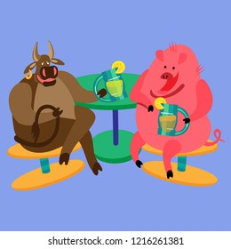A bull and a pig with lemonade sitting on a stool. Fine for a greeting card, home pages and invitations to parties and gigs.