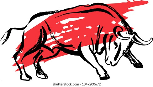 Bull ready to jump ink sketch. Ox, bull, cow on white background. Chinese happy new year 2021. Lunar New Year. Drawing bull, ox, cowhide ink