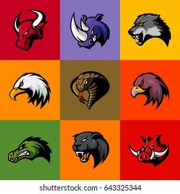 Bull, rhino, wolf, eagle, cobra, alligator, panther, boar head isolated vector logo concept. Modern badge mascot design. Premium quality wild animal, bird, snake t-shirt tee print illustration.