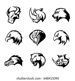 Bull, rhino, wolf, eagle, cobra, alligator, panther, boar head isolated vector logo concept set. Modern badge mascot design. Premium quality wild animal, bird, snake t-shirt tee print illustration.