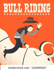 Bull riding poster.Vector American bull riding chempion on red background illustration with text