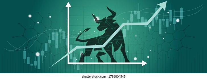 Bull run or bullish market trend in crypto currency or stocks. Trade exchange background, up arrow graph for increase in rates. Cryptocurrency price chart & blockchain technology. Global economy boom.