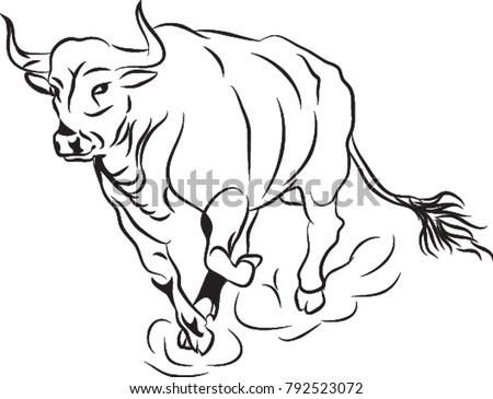Bull Running Bull Line Art Bull Stock Vector Royalty Free