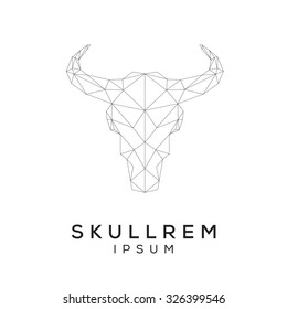 Bull scull emblem template for business. Abstract bull head with grid lines. Vector illustration.