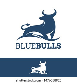 bull silhouette logo in blue color.flat style.simple animal vector.modern logo design