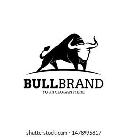 bull silhouette logo, flat style, simple animal monochrome vector illustration, angus/cow icon, modern design