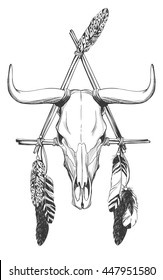 Bull skull with feathers and dreamcatcher. Native American Indian talisman. Vector hand drawn hipster illustration isolated on white background. Boho design, tattoo art, coloring book for adults.