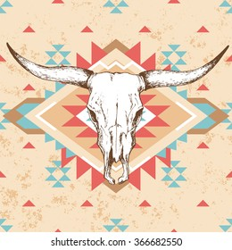 Bull skull with horns on native american or mexican background with traditional ornament in red, turquoise and beige color; bohemian style vector illustration