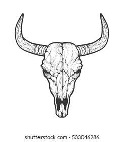 Bull skull native Americans tribal style. Dotted Tattoo blackwork. Vector hand drawn illustration. Boho design