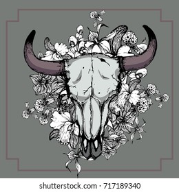 Bull skull with orchid flower,hand drawing