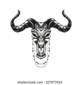 Bull skull with traditional ornaments. Hand drawn illustration