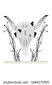 Bull skull vector illustration decorated with butterflies, stars, geometric shapes, botanical elements, fantasy, abstract, black, minimalistic, graphics.