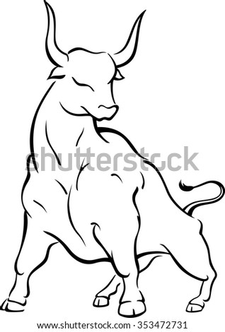 Bull Stance Line Art Brave Strong Bull Stock Vector Royalty Free