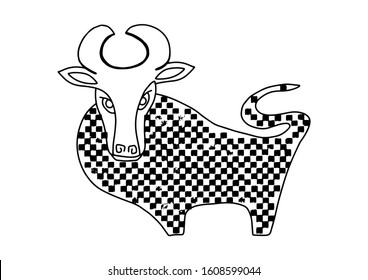 Bull symbol 2021 years in hand drawn doodle style isolated on white background. Australian animal. Ox animal angry horned textured. Sign vector illustration.Print t shirt, logo, icon, element pattern.