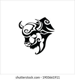 Bull Symbol. Tribal Tattoo Design. Vector Illustration.