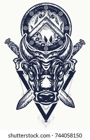 Bull tattoo and t-shirt design. Ancient Rome and Greece concept war. Minotaur, crossed swords and spartan shield. Symbol of bravery, fight, hero, army