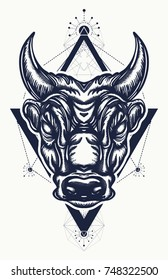 Bull tattoo and t-shirt design. Ancient Rome and Greece concept war t-shirt design. Minotaur, symbol of bravery, fight, hero, army