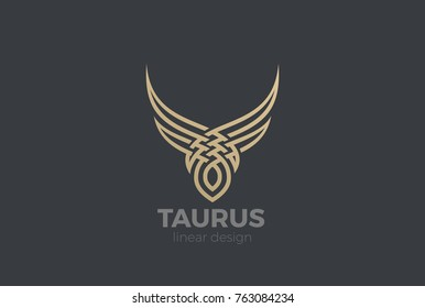 Bull Taurus abstract silhouette Logo design vector template Linear style. Golden Steak house Logotype icon.