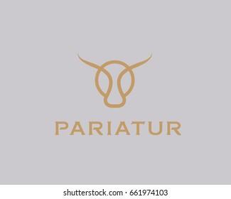 Bull taurus vector logo. Linear cow steak creative logotype