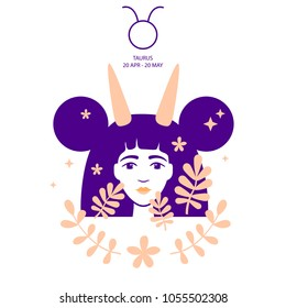 Bull to Taurus of zodiac, horoscope concept, vector art, illustration. Beautiful girl silhouette. Astrological sign as a beautiful women. Future telling, horoscope, alchemy, spirituality, occultism