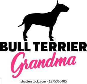 Bull terrier Grandma silhouette black