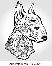 Bull terrier's portrait made in an old-stylized tattoo. Vector illustration for coloring book, t-shirts, tattoo art, boho design, posters, textiles. Isolated vector illustration.