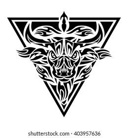 Bull Tribal Tattoo
