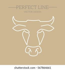 bull vector line, symbol, logo, emblem. Contour Design.