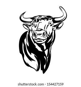 bull vector llustration realistic sketch