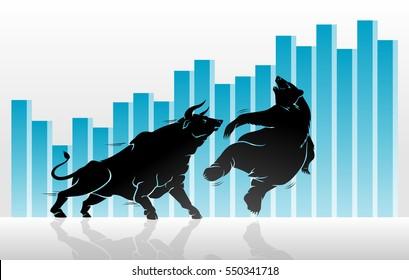 Bull versus Bear Stock Market Graph