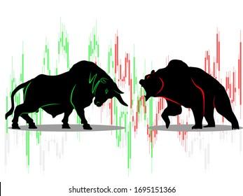 bull vs bear symbol of stock market trend on white background Illustration