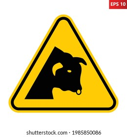Bull warning sign. Vector illustration of yellow triangle sign with bull head icon inside. Caution vicinity of bulls. Danger area. Risk of injury.