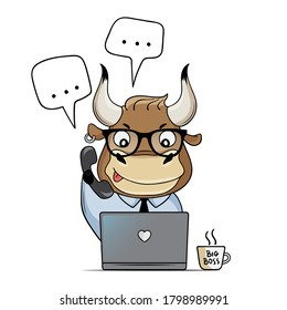 Сute bull works in the office with a laptop. Cartoon bull answers calls and messages. Symbol of 2021. Vector illustration