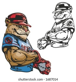 Bulldog Baseball Mascot. Great for t-shirt designs, school mascot logo and any other design work. Ready for vinyl cutting.