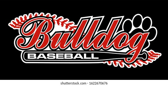 bulldog baseball team design with bat and stitches for school, college or league