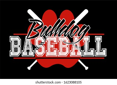 bulldog baseball team design with crossed bats and paw print for school, college or league