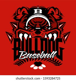 bulldog baseball team design with stitches and half mascot for school, college or league