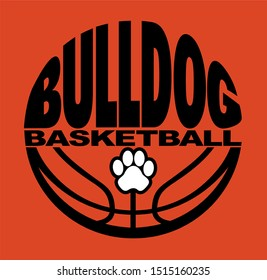 bulldog basketball team design with half ball and paw print for school, college or league