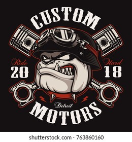 Bulldog biker with crossed pistons. Vector illustration with motorcycle rider on dark background. Shirt graphics (COLOR VERSION) All elements, colors, text (curved) are on the separate layer.