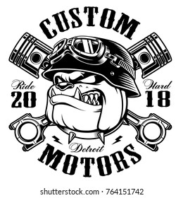 Bulldog biker with crossed pistons. Vector illustration with motorcycle rider on white background. Shirt graphics (MONOCHROME VERSION) All elements, text (curved) are on the separate layer.